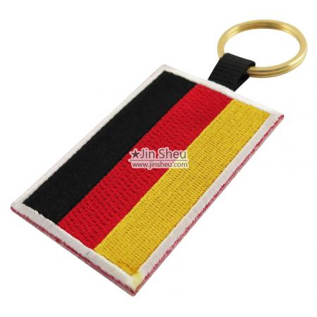 Fully Embroidery key tags - Germany Flag Embroidery Keychains