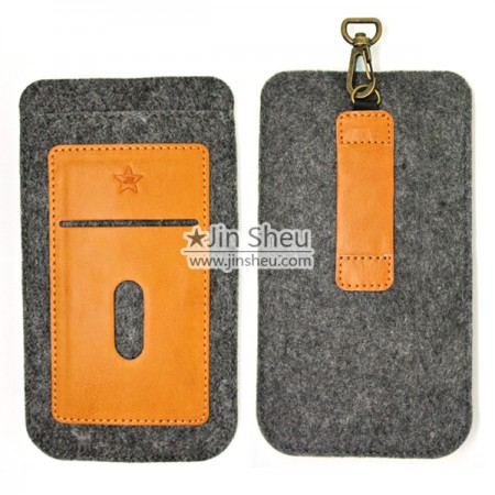 Felt and Leather iPhone 6/7 Plus Phone Holder - Felt leather iphone7 plus holder