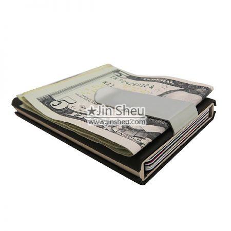 حامل البطاقة مع مقطع المال - حامل البطاقة مع مشبك معدني