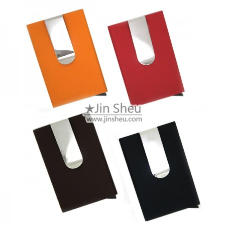 Card Holder with Money Clip - PU Leather Card Holder with Money Clip
