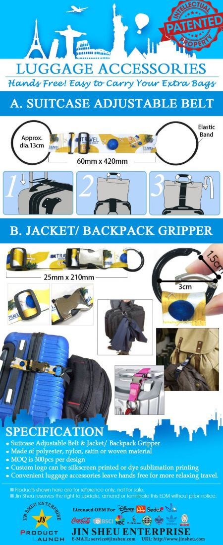 Luggage Accessories - Suitcase Adjustable Belt & Backpack/ Jacket Gripper