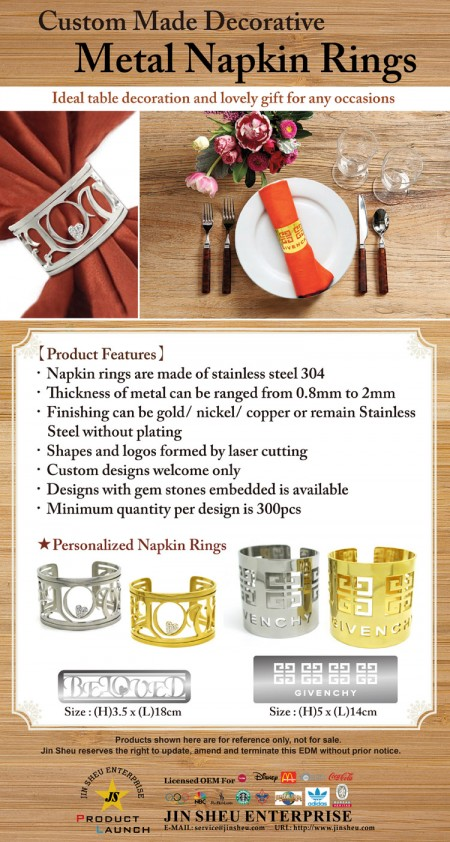 Custom Made Decorative Metal Napkin Rings - Custom Made Decorative Metal Napkin Rings
