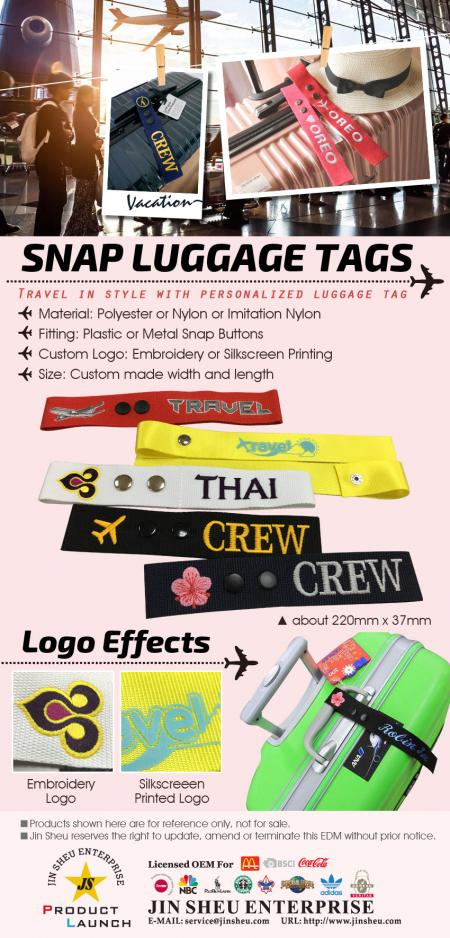 Personalized Snap Luggage Tags - Personalized Snap Luggage Tags