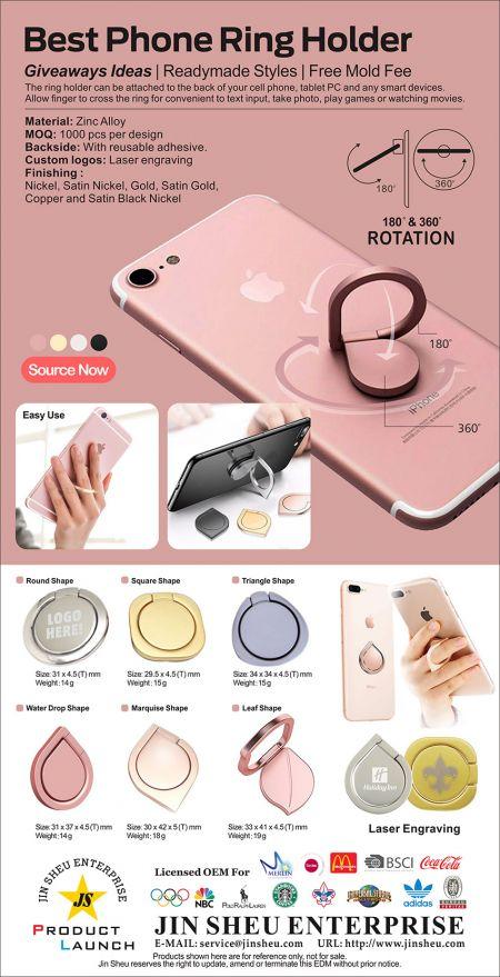 Promotional Phone Finger Holder - iPhone Ring Holder, metal phone ring holder