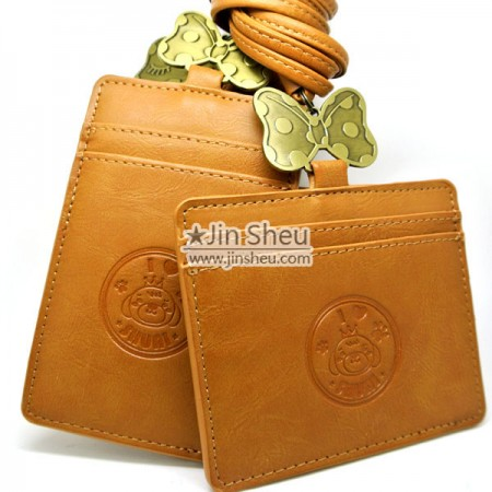 Leather ID Card Holder - leather card holder with neck strap