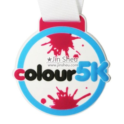 Marathon 5K Virtual Race Rubber Medal - Cute and color soft pvc rubber medal for family fun runs and children's activities