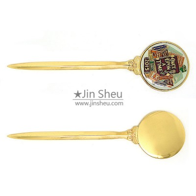 Round Logos Gold Plated Letter Opener - Round Logos Gold Plated Letter Opener