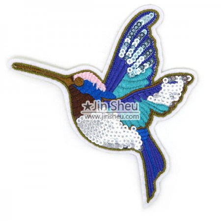 Embroidery Sequin Patches - Hummingbirds Sequin Embroidery Patches
