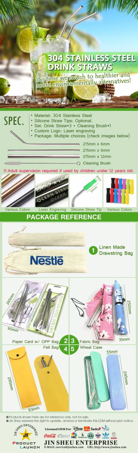 304 Stainless Steel Drink Straws - Promotional Stainless Steel Drink Straws