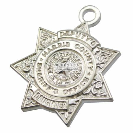 Sterling Silver Pendant Charms - Sterling silver sheriff office charm pendants
