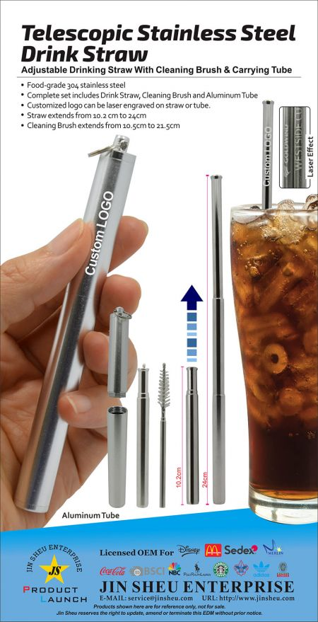 Telescopic Stainless Steel  Drink Straw - custom drinking straws