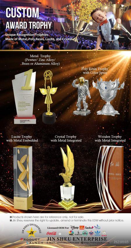 Custom Award Trophies - Custom Award Trophies in Various Material