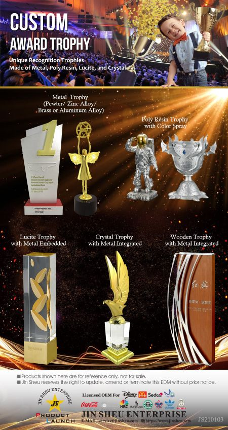 Custom Award Trophies - Custom Award Trophies in Various Material