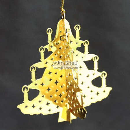 Hanging Ornaments - Metal Xmas tree-shaped decorations