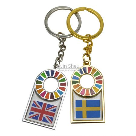 Custom SDGs Keychains - Transparent Enamel Color Keychains
