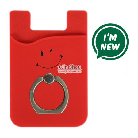 Silicone card holder with ring - Silicone card holder for phone