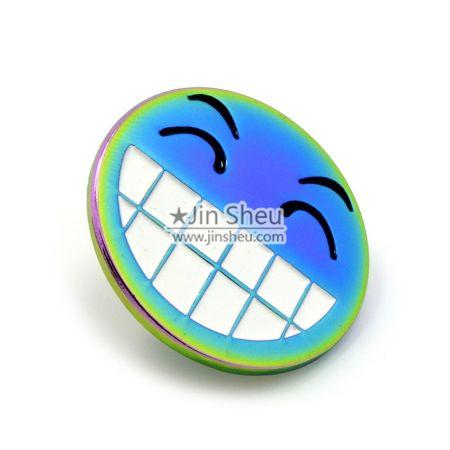 Smile with Teeth Rainbow Lapel Pin