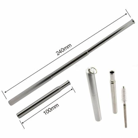 Telescopic Reusable Metal straws - Telescopic stainless steel drinking straws