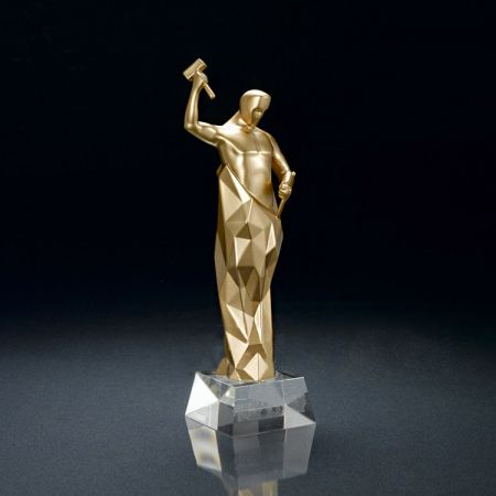 polyresin award trophies with crystal bottom base
