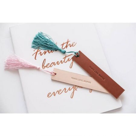 personalized leather bookmark with tassels