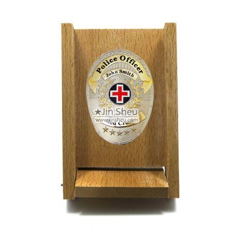 Wood Plaque Display Case - wooden display case for metal badges