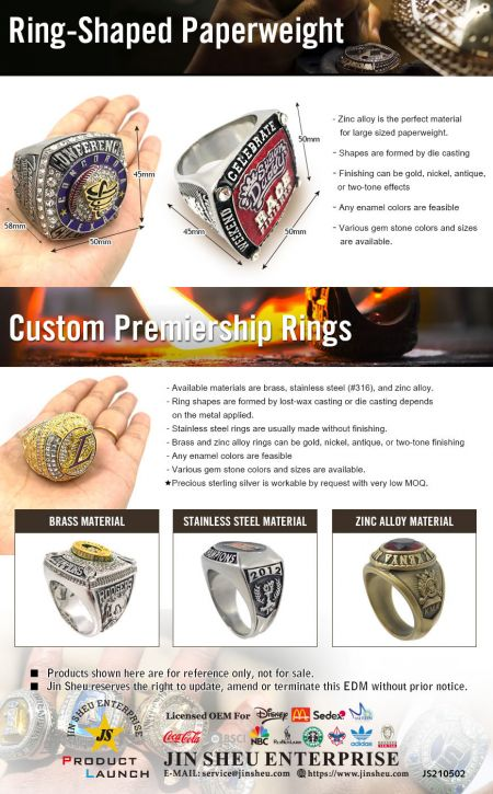 Giant Commemorative CHAMPIONSHIP RING Paperweight - Customized Sports Ring Paperweights for Your Favorite Team. They can be personalized in brass, stainless steel, zinc alloy or even in sterling silver. Jin Sheu's team of experts is here to help you with the perfect design.
