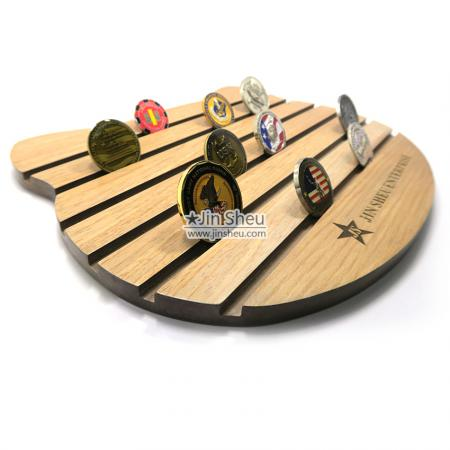 Coin Wooden Display Board - military coin wood display stands