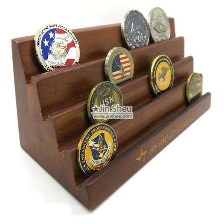 Coin Wooden Display Rack - military coin wood display racks