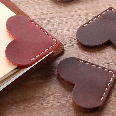 custom heart shaped corner leather bookmarks