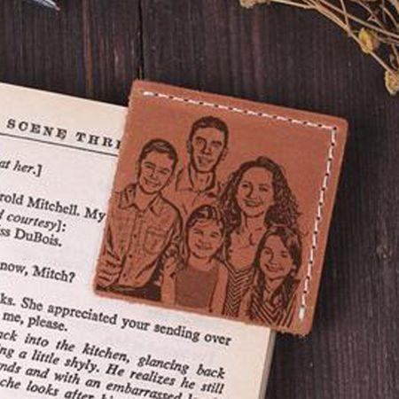 custom printed leather corner bookmark