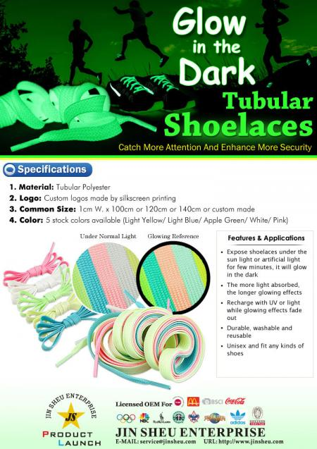 Glow in the Dark Sholelaces - Glow in the Dark - Schlauchschnürsenkel sorgen für mehr Aufmerksamkeit und erhöhen die Sicherheit