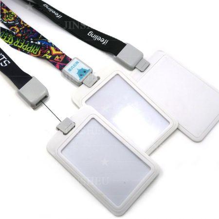 ID Card Badge Holder Lanyards - Retractable Card Holder Lanyard