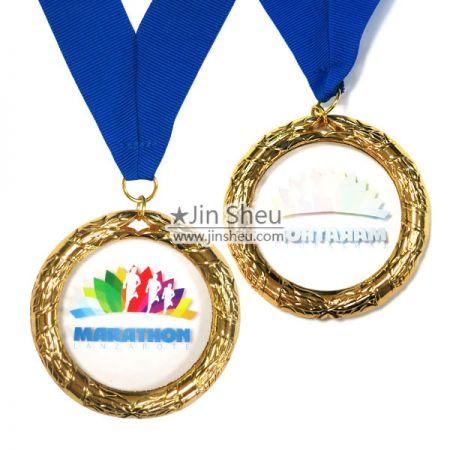 Acrylic Medal with Leaves Wreath Frame - Acrylic Medal with Leaves Wreath Frame