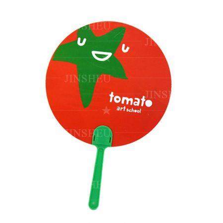 custom designed tomato pp plastic hand fans