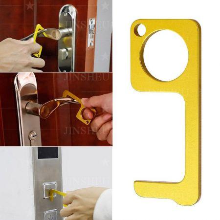 touch free zinc alloy door opener keychain