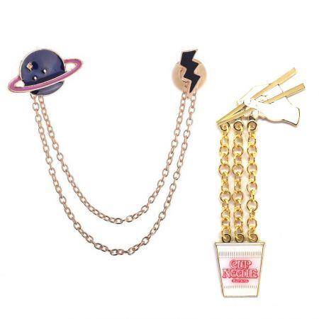 Chain Lapel Pins/ Collar Brooches - Custom Enamel Chain Lapel Pins & Collar Brooches
