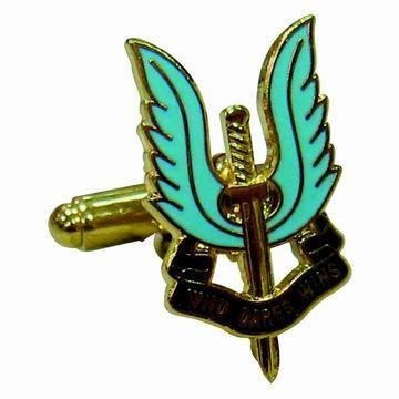 Custom Metal Cufflinks - Angel Wings with Sword Cufflinks