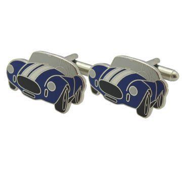 Blue Vintage Car Enamel Cufflinks - Blue Vintage Car Enamel Cufflinks