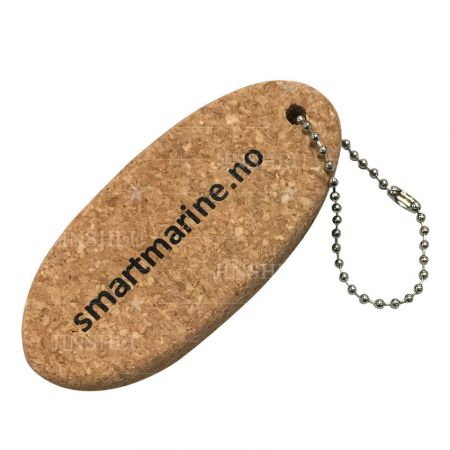 custom flat logo printed cork keychain