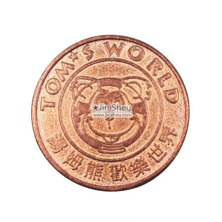 red copper game center tokens