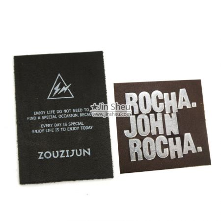 Real Printed Leather Labels/ Foil Stamp Leather Labels - Real Leather Printed Labels/ Foil Stamp Labels