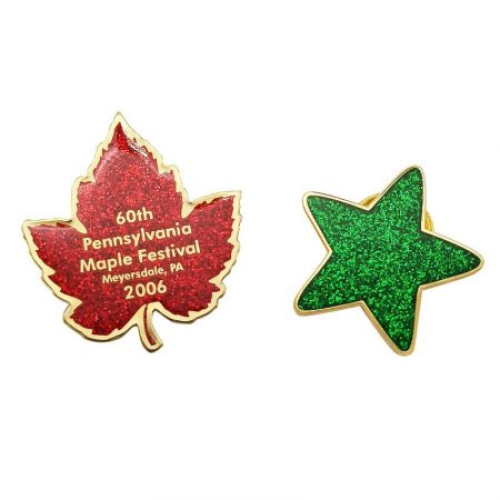 Glitter Lapel Pins - Highly visible and expensive-looking custom glittering pin.