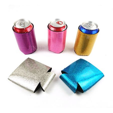 Sparkly Glitter Beer Can Holder - Custom Neoprene Glitter Beer Can Coolers