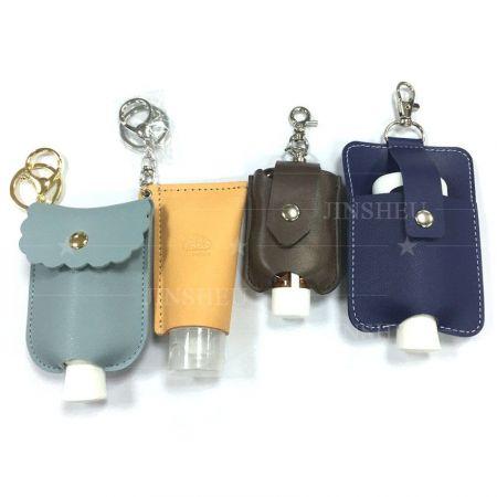 Leather Hand Sanitizer Holder Keychain - Leather Hand Sanitizer Holder Keychain
