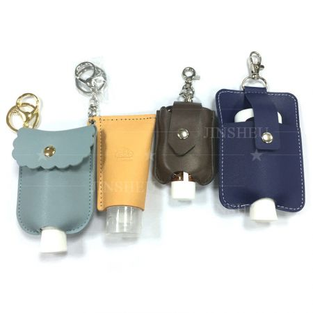 Leather Hand Sanitizer Holder Keychain - Leather Hand Sanitizer Holder Keychain