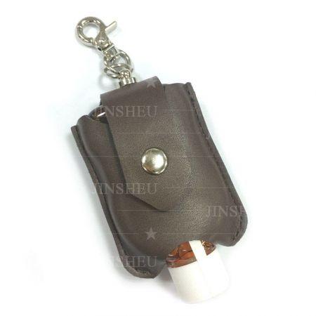 Leather Hand Sanitizer Keychain Case