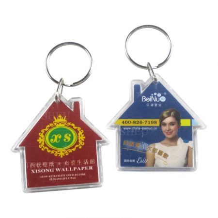 House Shaped Promotional Acrylic Keyrings - House Shaped Promotional Acrylic Keyrings