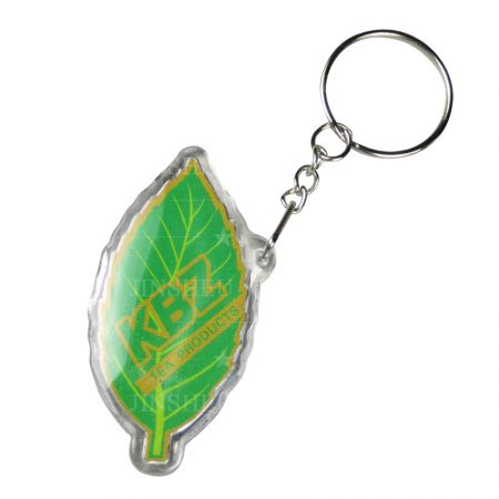 Custom Printed Acrylic Keyring - Custom Printed Leaf Shaped Acrylic Keyring