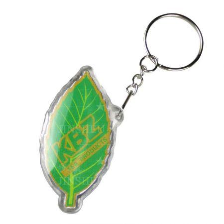 Custom Printed Acrylic Keyring - Custom Printed Leaf Shaped Acrylic Keyring