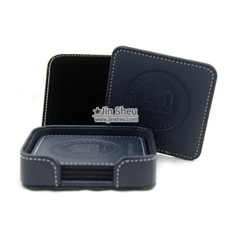 Square Leather Coaster Set - Square Leather Coasters